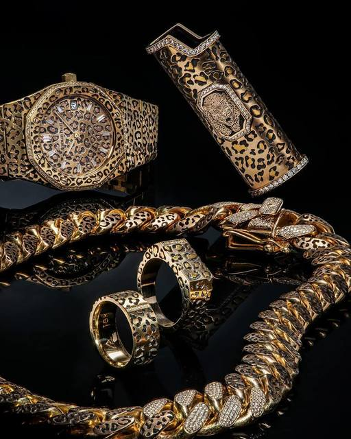 Buddy Austin, 'Wild Coat - Leopard Print Jewelry Collection', 2018, Jewelry, Hand inlayed Rose Gold and VVS diamonds on 18k Audemars Piguet, Cuban Link Chain, Ring Bands, and Lighter Case, The Crown Collection