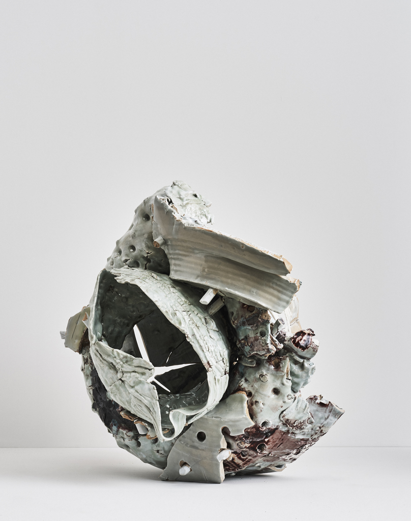 Gareth Mason, Horror Vacui, 2016, Jingdezhen middle white porcelain, layered glazes and copper cable, 29h x 34w x 26d in