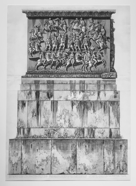 , 'Base of marble and travertine constructed during the pontificate of Pope Benedict XIV for the pedestal of the column, from Trofeo o sia Magnifica  Colonna Coclide...(The Trophy or Magnificent Spiral Column); Columna Antonina. ,' 1774-1779, Pia Gallo
