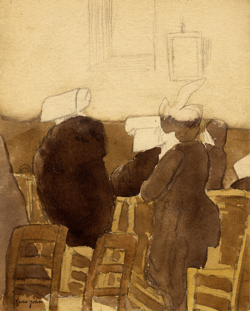 Gwen John, 'Back View of Three Nuns and Two Women in Church', probably executed 1910s, Davis & Langdale Company, Inc.
