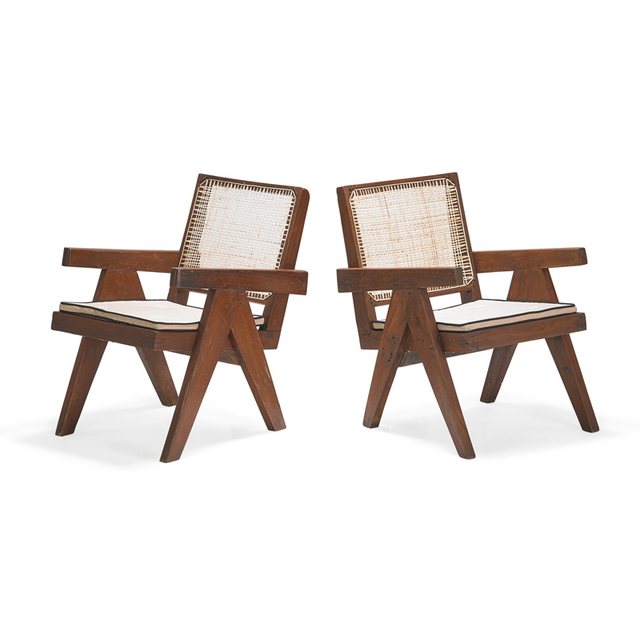 Pierre Jeanneret, 'Two Easy Arm lounge chairs from the Chandigarh administrative buildings, France/India', Rago