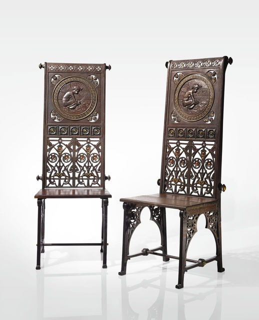 """Christopher Dresser, 'A Rare Pair of """"Boreas"""" Chairs', 1870, Sotheby's"""