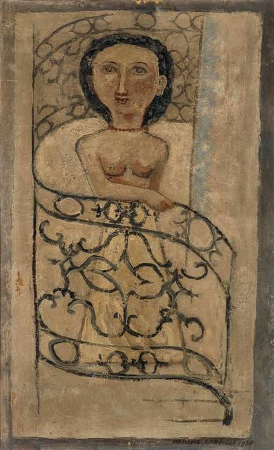 Massimo Campigli, 'Woman on Banister', 1930, Painting, Oil and newsprint laid down on canvas, Doyle