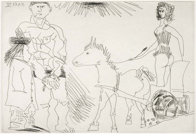 Pablo Picasso, 'Circus Scene with a Horsewoman on a Chariot Led by a Donkey (El Entierro del Conde de Orgaz, B.1468)', 1969, Martin Lawrence Galleries