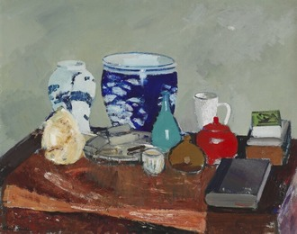 Still life with vases and books on a table