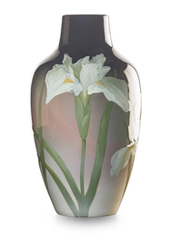 Large Black Iris vase with white irises, Cincinnati, OH