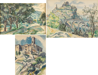 Three Works of Art: Untitled (Landscape with Barn), Untitled, Untitled