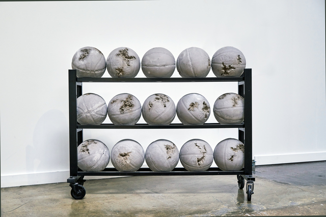 , 'Glacial Rock Eroded Basketballs,' 2014, Arsenal Contemporary
