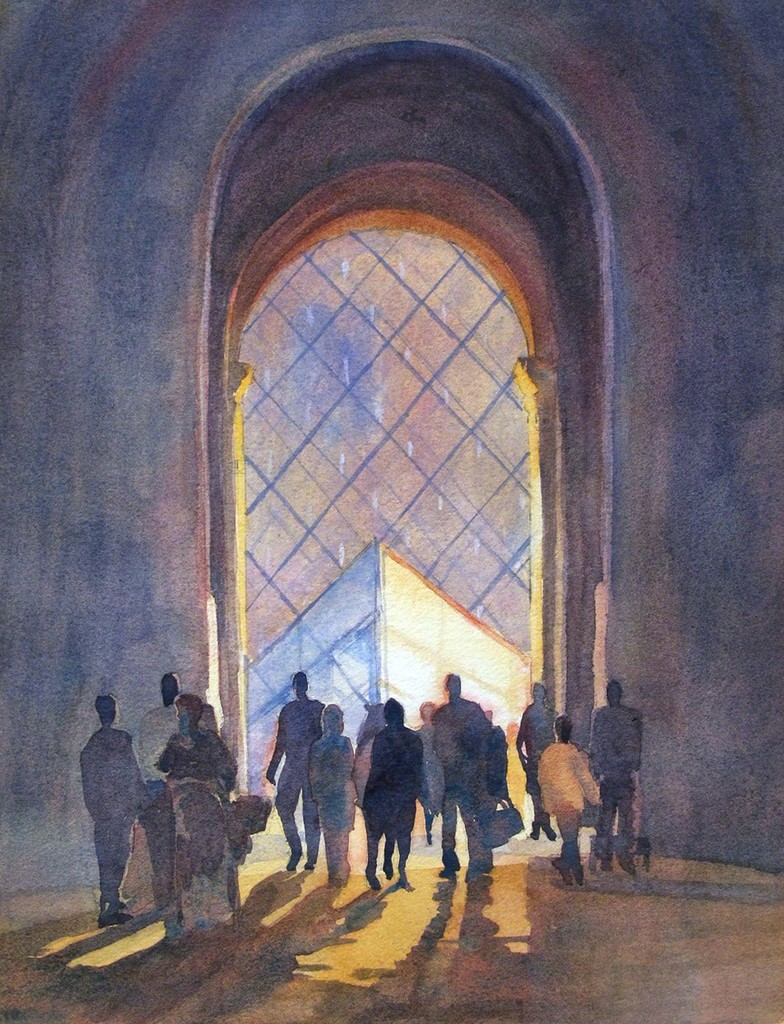 """Entering the Louvre, Paris"" by Jann Pollard, watercolor on paper, 14 x 11 in. (35.56 x 27.94 cm)"