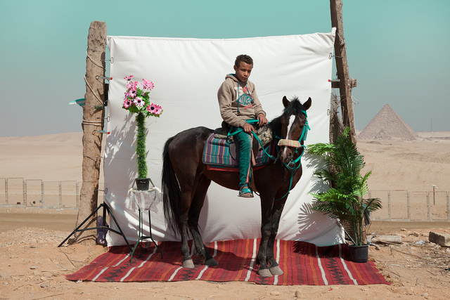 , 'Abdu with Gedu (horse), from the series Edge of Giza,' 2016, Tintera