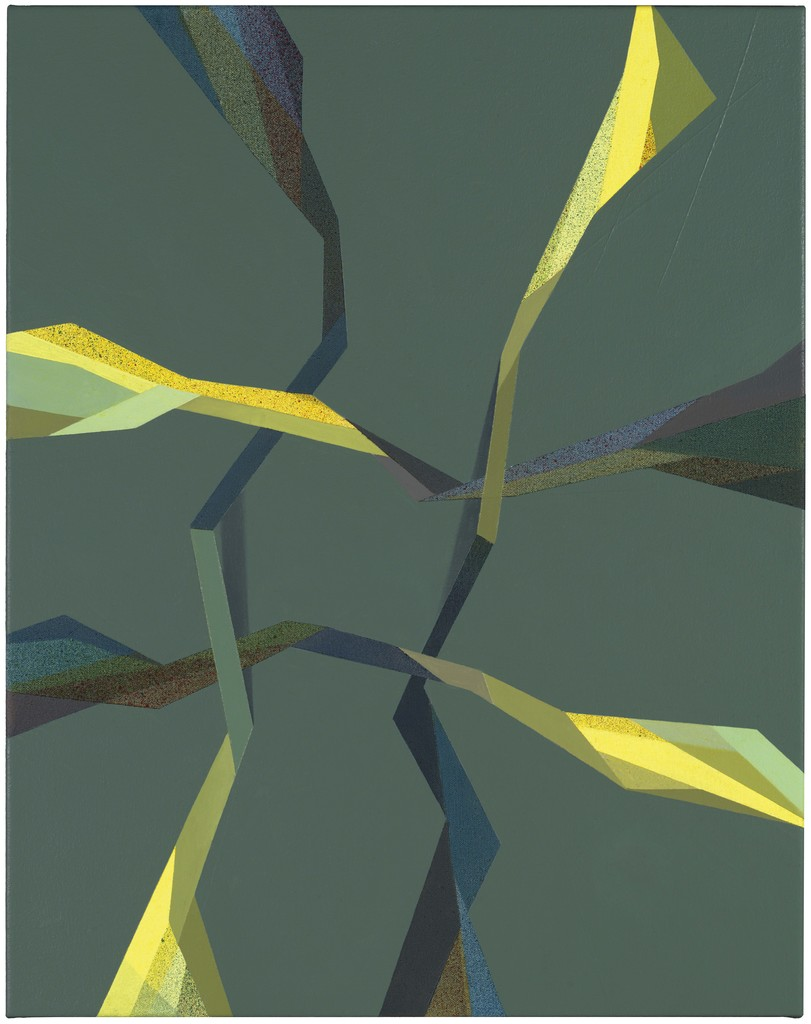 """Tomma Abts, Fiebe, 2017 Acrylic & oil on canvas 48 × 38 cm, 18 7/8"""" × 15"""" Courtesy Private Collection"""