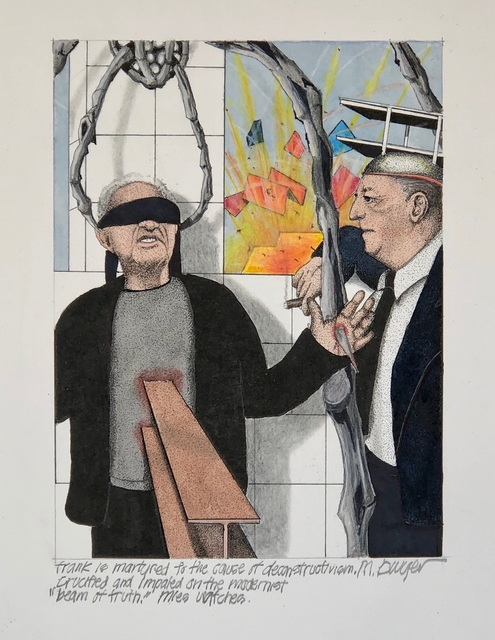 "Michael Dwyer, 'Frank is martyred to the cause of deconstructivism, crucified and impaled on the  modernist ""beam of truth. ', 2020, Drawing, Collage or other Work on Paper, Mixed Media on Paper, M.A. Doran Gallery"