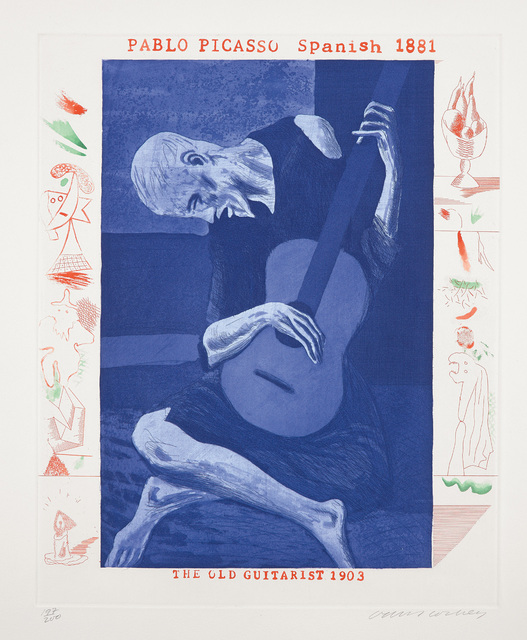 David Hockney, 'The Old Guitarist, plate 2, from The Blue Guitar', 1976-77, Phillips