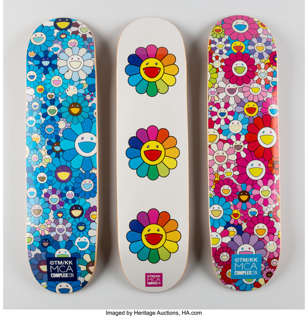 Takashi Murakami, 'Multi Flower 8.0 Skate Decks (Blue, Pink, and White)', 2017, Heritage Auctions