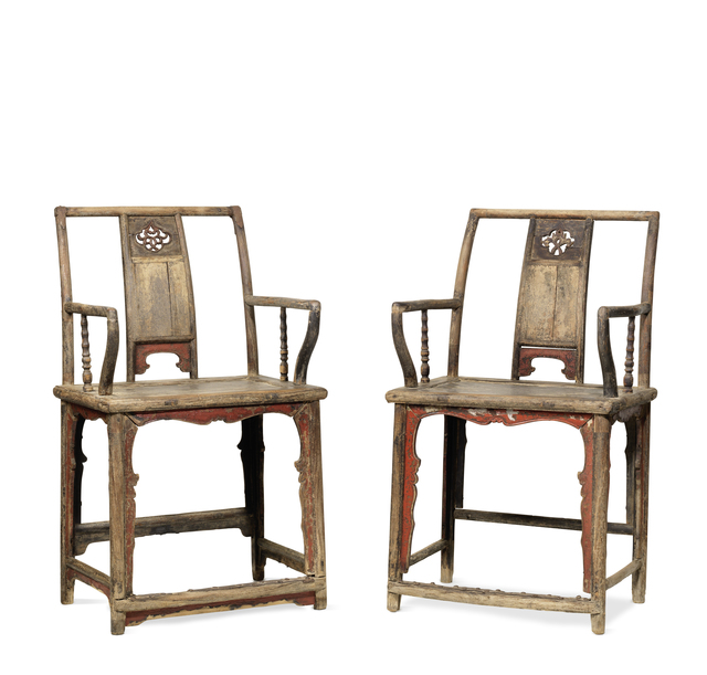 , 'A pair of partially red lacquered Elm southern official's hat armchairs,' China: Shanxi province, Ming dynasty, 16/17th century, Rasti Chinese Art