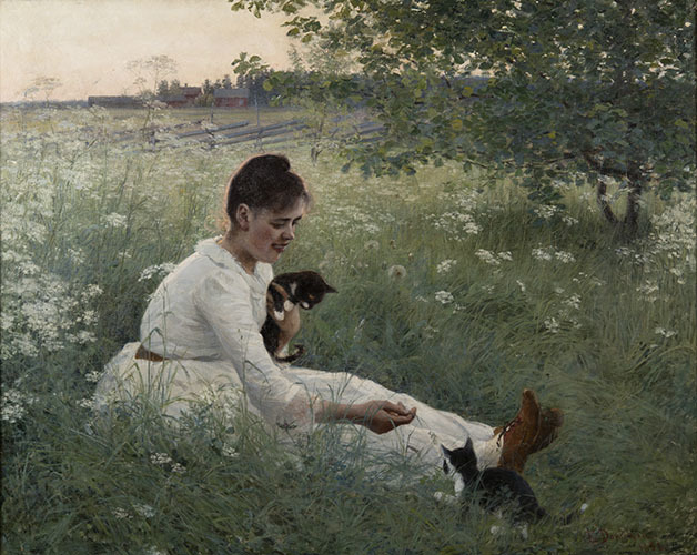 , 'Girl with Kittens in a Summer Landscape,' 1892, American Federation of Arts