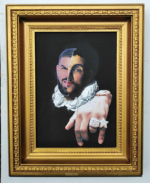 , 'Portrait of a young man with a ruff by Caravaggio (1620), photobombed by Drake,' 2019, Contemporary Collective