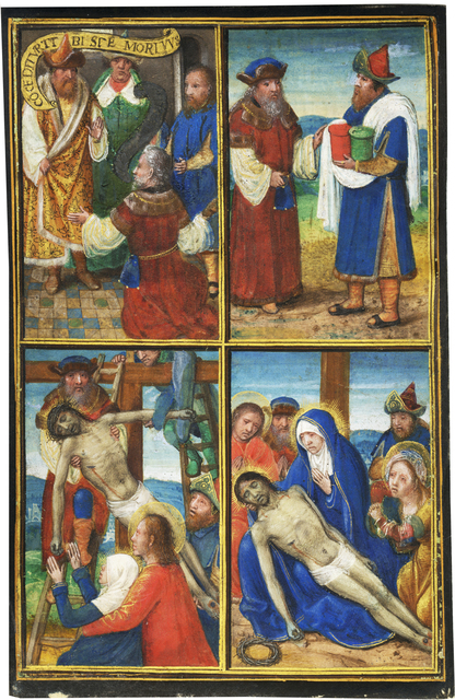 , 'Joseph of Arimathea and Nicodemus in the Passion of Christ; Single leaf from the Prayerbook of the Enriquez de Ribera family,' c. 1508-1509, Les Enluminures