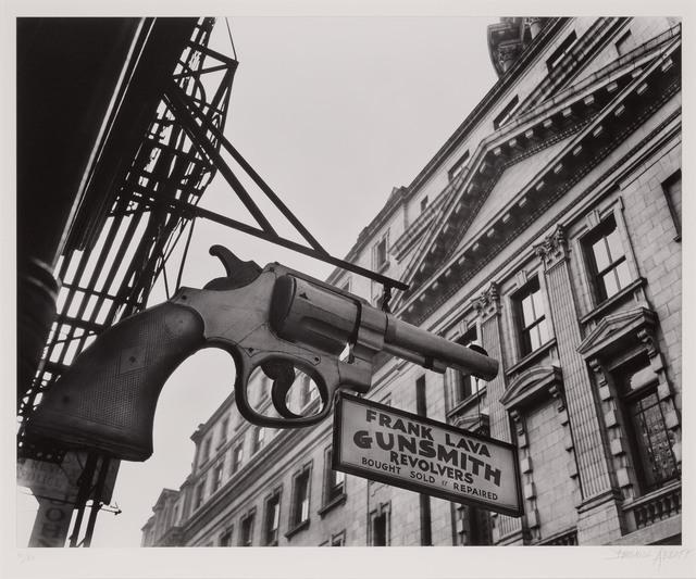 Berenice Abbott, 'Gunsmith and Police Department, 6 Centre Market Place, Manhattan', 1937, Doyle
