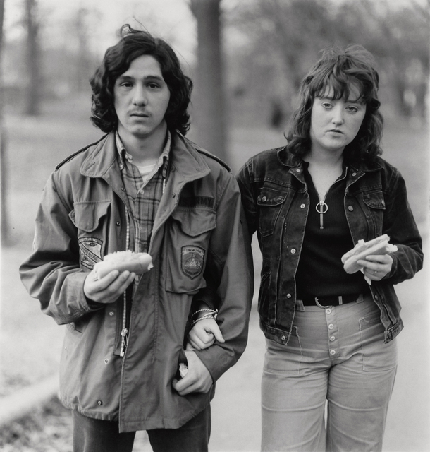 , 'A young man and his girlfriend with hot dogs in the park, NYC,' 1971, Robert Koch Gallery