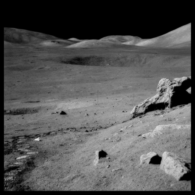 , '087 The Valley of Taurus-Littrow From Split Rock, With Trash and Footprints;  Photographed by Harrison Schmitt, Apollo 17, December 7-19, 1972,' 1999, Danziger Gallery