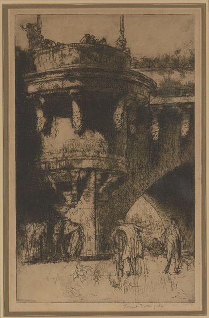 Sir Frank Brangwyn, 'Buttress of the Pont Neuf, Paris, [Gaunt 279A]', 1921, Print, Zinc etching on wove, Roseberys