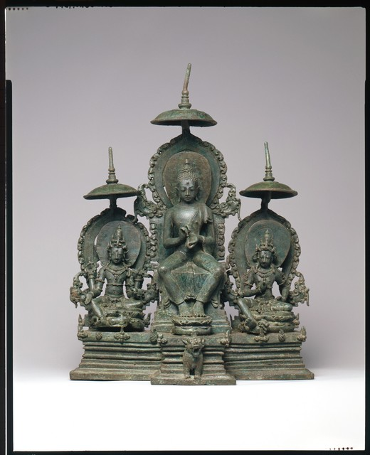 Unknown Indonesian, 'Enthroned Buddha Attended by the Bodhisattvas Avalokiteshvara and Vajrapani', second half of the 10th century, The Metropolitan Museum of Art