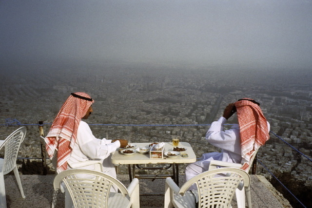 , 'Saudi tourists at a cafe on Mt. Kassion, Damascus, Syria,' 1995, Anastasia Photo
