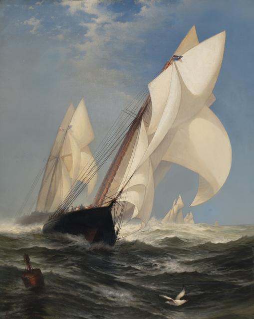 ", 'The Winning Yacht: ""Countess of Dufferin"" and ""Madeline"",' 1877, Debra Force Fine Art"