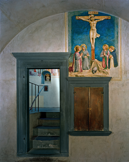 , 'Crucifixion with the Virgin and Sts Cosmas, John the Evangelist and Peter Martyr by Fra Angelico, Cell 38 (foreground), Adoration of the Magi and Man of Sorrows, by Fra Angelico, Cell 39 (background) Museum of San Marco Convent, Florence, Italy,' 2010, Kasmin