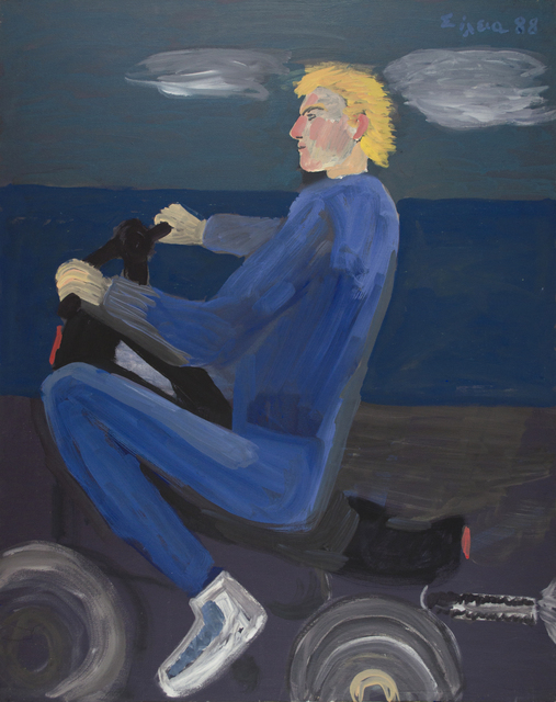 Celia Daskopoulou, 'Untitled (Man with Motorcycle)', 1988, Painting, Acrylic on canvas, CAN Christina Androulidaki