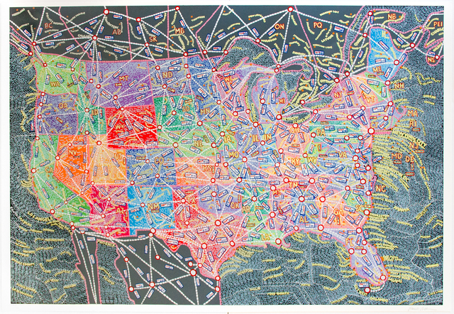 Paula Scher, 'USA Distances', 2019, Jim Kempner Fine Art