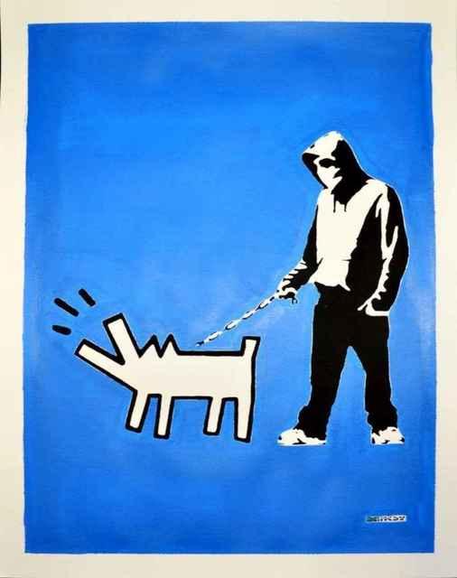 Banksy, '(After Banksy) Hoodie & Haring Dog on Blue', 2018, Leviton Fine Art