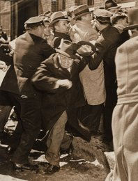 Queens Cops Rough Up Newspaper Picket Line (three photographs)