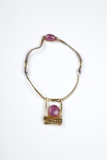, '18ct gold and tourmaline necklace with a woven silver chain,' 1970s, Didier Ltd.
