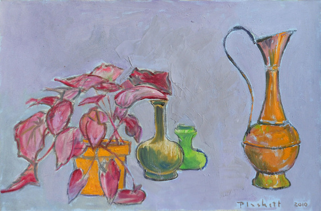 Joseph Plaskett, 'Red Plant in Yellow Pot & Clivia', 2010, Bau-Xi Gallery