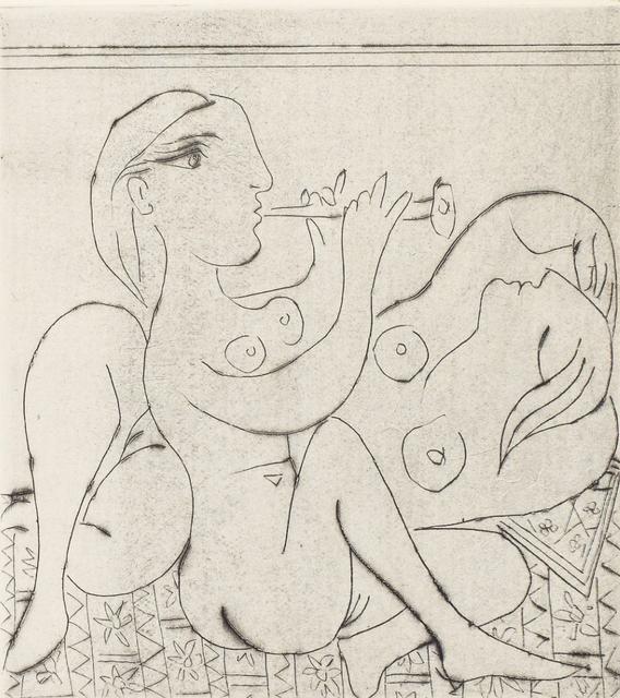 Pablo Picasso, 'Flûtiste et dormeuse II', 1933, Print, Drypoint and Etching, John Szoke