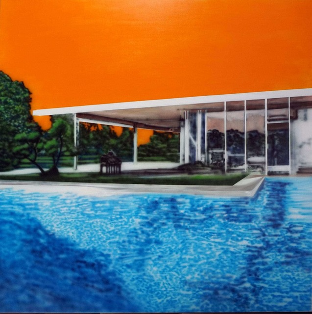, 'Neutra Swimming Pool With Orange Sky,' 2019, Galleri Christoffer Egelund