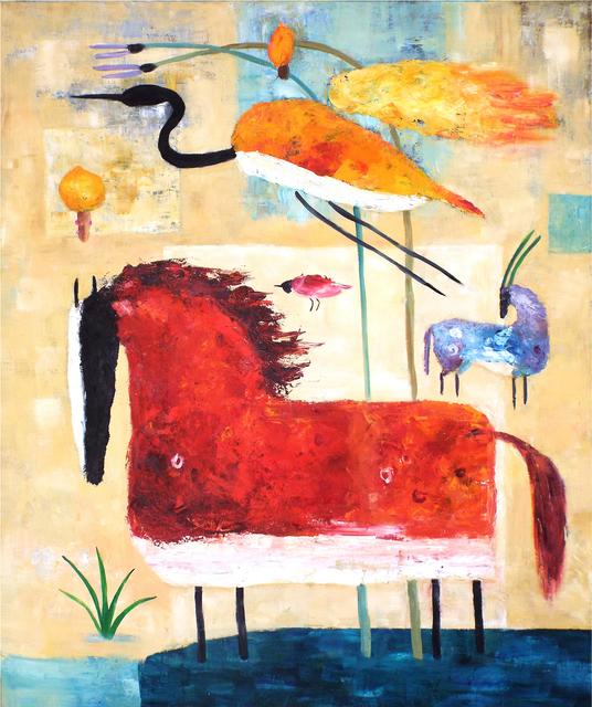 , 'Red Horse and Crane,' 2016, Carter Burden Gallery
