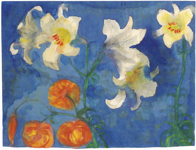 , 'White Lilies and Red Blossoms against a Blue Background,' 1945-1950, Galerie Bei Der Albertina Zetter
