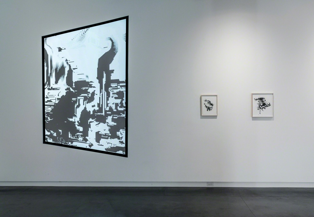 Video installation and inkjet paintings by Blake Carrington, from his ongoing Strata Systems series.