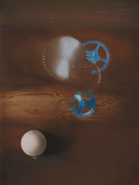 , 'Untitled (Wood grain, blue gears, white shaded sphere, and saw blade),' c. 1938-1940, Robert Koch Gallery