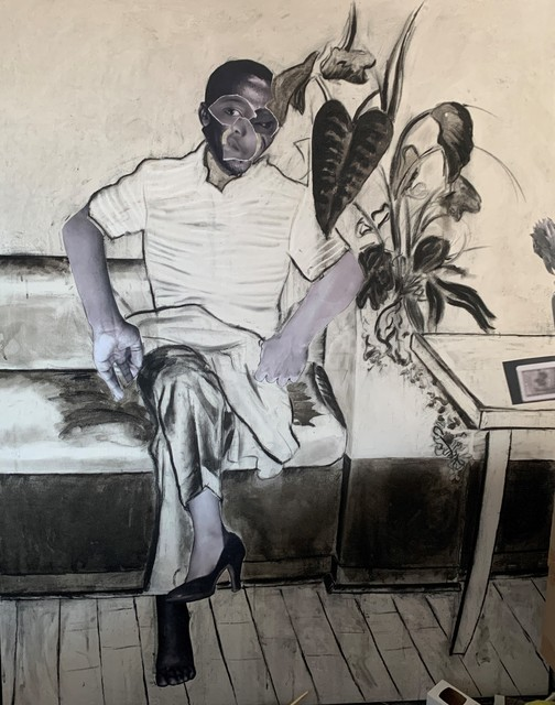 Neo Matloga, 'Shaderack', 2019, Drawing, Collage or other Work on Paper, Collage, charcoal & ink on canvas, Stevenson