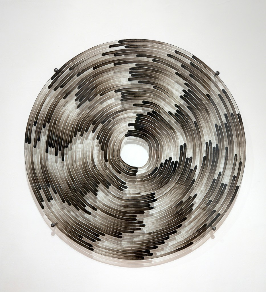 Sobriety Test, 2017, Glass with Black Lack, 130 cm diameter