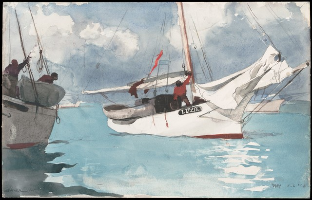 Winslow Homer, 'Fishing Boats, Key West', 1903, Drawing, Collage or other Work on Paper, Watercolor and graphite on off-white wove paper, The Metropolitan Museum of Art