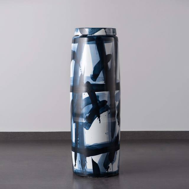 Felicity Aylieff, 'Blue & White Monumental Lidded Vase', 2018, Design/Decorative Art, Thrown and glazed porcelain, hand-painted with cobalt blue oxide, Adrian Sassoon