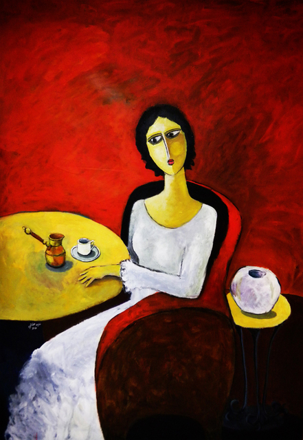 , 'A Woman With A Cup of Coffee,' 2011, Hafez Gallery