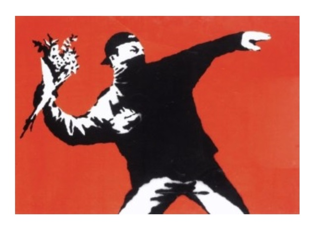 Banksy, 'Love is in the Air', 2003, SmithDavidson Gallery
