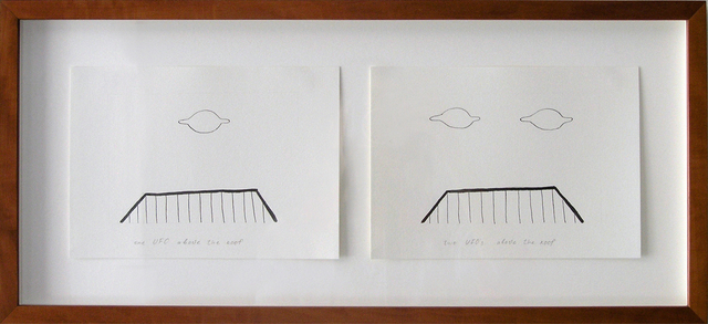 , 'Geo-graphic (one UFO above the roof,  two UFOs above the roof),' 1989-2004, Galerija Gregor Podnar