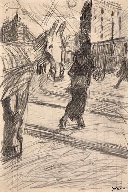 Mario Sironi, 'Paesaggio urbano con cavallo', 1916, Finarte